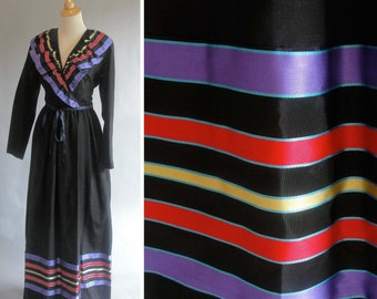 Vintage Black Maxi Dress with Purple Red and Yellow Ruffle Collar by OGGEE BY RIZKALLAH
