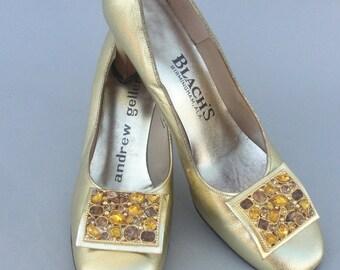 Vintage 1960s ANDREW GELLER  Gold Lame Mod Heel