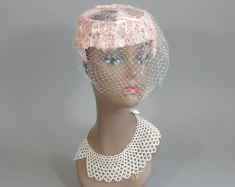 Vintage 1960s Pink Bridal Veil with Netted Topper