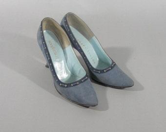 Vintage Herbert Levine  1960s BLUE SUEDE High Heels Madmen Style Joan