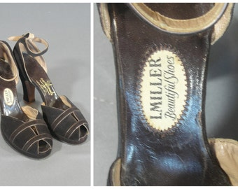 vintage 1940s platform heels by i. miller in brown suede with ankle strap