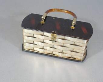 vintage Dorset Rex gold and tortoise shell basket weave lucite box purse