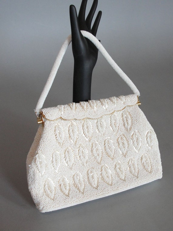 Vintage 1960s WHITE  Beaded Pocket Purse Wedding Accessories Evening Purse Formal Purse Made in Hong Kong