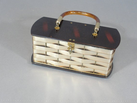 vintage Dorset Rex gold and tortoise shell basket weave lucite box purse