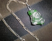 Green Sea Glass Necklace Wire Wrapped Unique Pacific Ocean LaJolla Jewel-Deep Green One Of A Kind Beauty