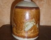 Twig Jar Eames Era Pottery Burnt Copper Reactive Metallic Glaze Studio Made and Artist Signed Vintage Mid Century