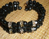 Reserved4 koholendt -Mourning Bracelet Antique Faceted Beads With Rhinestone Spacers-Triple Strand On Wire