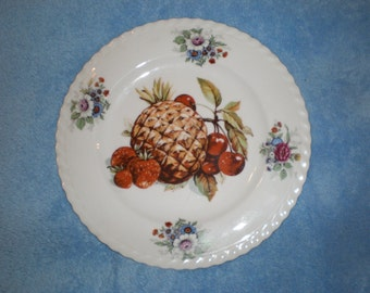 """KEA Cherries & Fruit Plate Fruit Also Decorated With Pineapple and Strawberries """"Bavarian"""" Franconia Krauthein -Great Display Piece"""