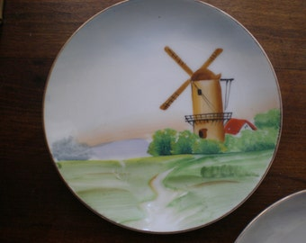 """Painted Plates """"Occupied Japan"""" Cottage Decor WWll Decorative Plates Set Of 2  Scenic Hand Painted Porcelain Matched Set-Windmill  Theme"""
