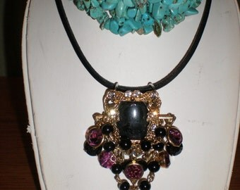 Gypsy Amethyst With Black Onyx Gothic Necklace -Purple Rain Up-Cycled Vintage Assemblage