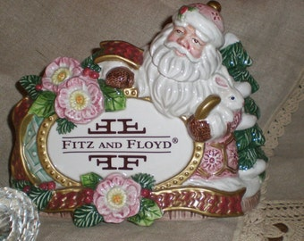 Santa Advertising  Fitz & Floyd RARE Holiday Special Store Display Piece- Porcelain Holiday Window Decor Victorian Motif