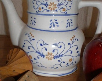 French Teapot European Style Country Shabby Vessel With Cobalt Detail -Very Cottage Chic- Numbered- Vintage