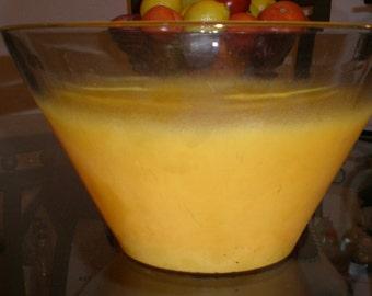 Blendo Fruit Bowl Large Orange Sherbet Frosted Crystal Fruit/Salad/Chip Bowl 70s Vintage Beauty