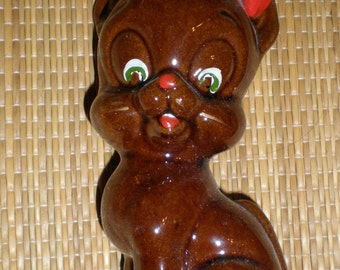 Redware CAT Japanese Brown Glazed Pottery Comical Looking  Mid-Century Figurine - Vintage