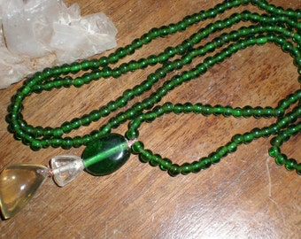Smokey Quartz and Glass Necklace -Green Goddess Asymmetrical Beaded Lariat Necklace