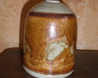 Weed Vase/Twig Jar Eames Era Pottery Burnt Copper Reactive Metallic Glaze Studio Made and Artist Signed Vintage Mid Century