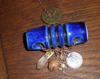 Cobalt Charm Pendant Steampunk Ceramic Insulator Necklace Quartz Crystals, Coins & Gem Treasure Dangles