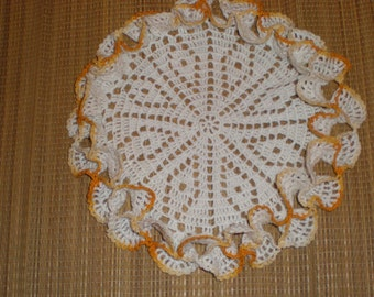 Doily Ruffled Pie Or Cake Display With Marigold Edging Cottage Style Crocheted Piece Beautiful Colored Edges