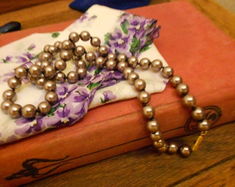 Lavender Pearl Gothic Bride Necklace On Black Silk Knotting- Gorgeous & Rare Vintage Bridal Jewelry Exquisite Single Strand