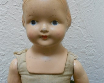 "Creepy Doll Antique Effanbee ""Baby Dainty"" Doll Cute  Antique Shabby Cottage Collectible"