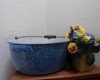 Blue Wash Tub Granite-ware Antique Wire Handled Large Size Enameled Farmhouse Primitive -Decorative Photo Prop Or Garden Tub