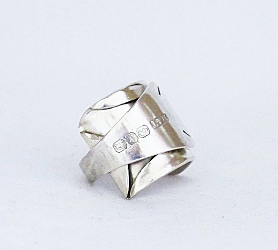 Antique Silver SPOON RING circa 1894 : Edwardian Origami Silver spoon ring - Whole Antique Hallmark Silverware Ring