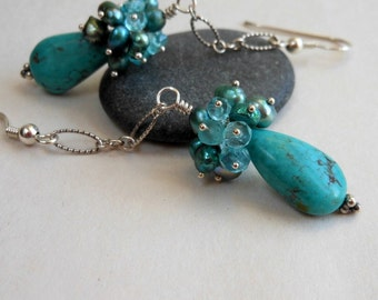 Natural Turquoise Apatite Pearl Cluster Sterling Silver Earrings