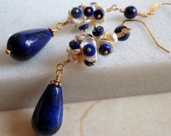Lapis Lazuli Ivory White Keshi Pearls Gold Filled Gold Vermeil Long Cluster Earrings