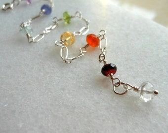 Chakra Bracelet Multi Gemstones Amethyst, Tanzanite, Apatite, Peridot, Citrine, Carnelian, Garnet and Crystal in Sterling Silver
