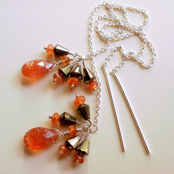 Natural Sunstone and Gold Pyrite Thread Chain Earrings Sterling Silver