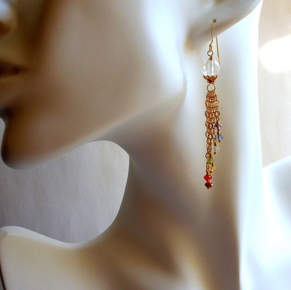 Multi Stone Chakra Chain Earrings in Gold Filled and Vermeil
