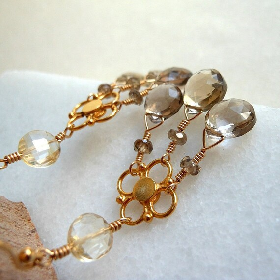Chandelier Earrings with Smoky Quartz Sapphire Citrine in Gold Filled Gold Vermeil