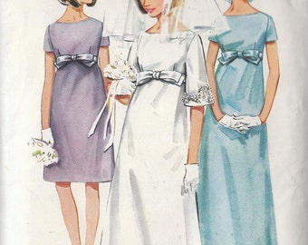 Vintage WEDDING GOWN Bridesmaid Empire Dress Pattern 1960s Size 14 Mad Men Style