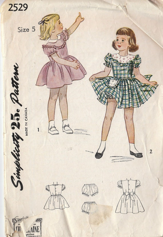Vintage Sewing Pattern 1940's Girls Full Puffy Yoked Dress and Panties Bloomers