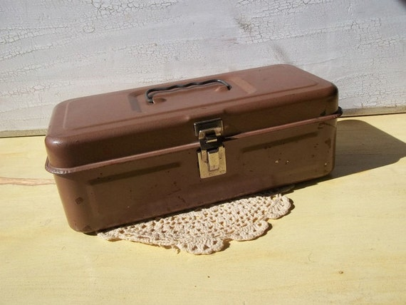 Vintage Metal Brown Tool Box Dudes Fishing Tools Tan Men