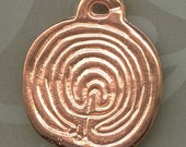 1 Copper Labyrinth Disk -Ancient Greece Coin Design - Redi-2-Wear on Adjustable Cotton Cord - or Loose