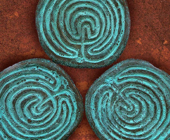 3 Labryinth Disks in Green Patina -  Labyrinth Design from Ancient Greek Coin - CLDG3