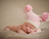 Newborn Baby Girl Pom Pom Hat / Box Hat / Jester Hat, Soft Pink and Cream, Newborn Baby Girl Photo Prop,