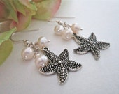 Starfish Earrings with Cultured Pearls, Sea Stars, Destination Wedding, Beach Wedding, Hawaiian Jewelry, Matching Necklace, Tropical, Bridal