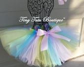 Pastel Pixie- Pastel Rainbow infant/child tutu with matching hairbows:  Newborn-5T