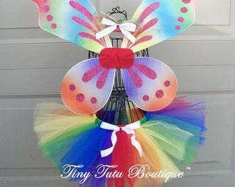 Groovy Rainbow Tutu/Hairbow Set- 2T/3T, 4T/5T