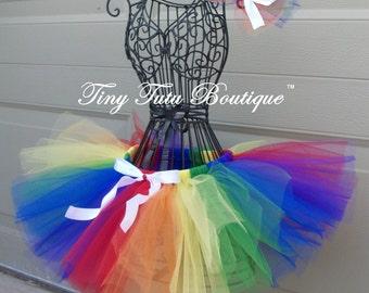 Groovy Rainbow- Rainbow child/baby tutu with hairbow:  Newborn-5T