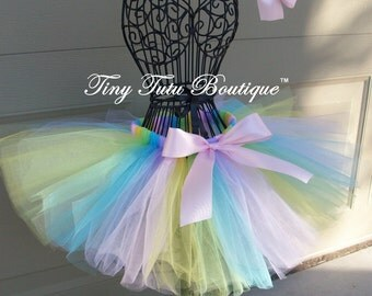Pastel Pixie- Pastel Rainbow infant/child tutu with matching hairbows:  Newborn-5T