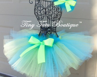 Razzle Dazzle- Vibrant Lime and Blue infant/child Tutu with matching hairbows:  Newborn-5T