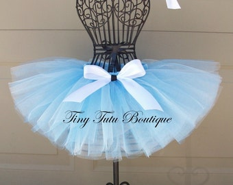 CINDERELLA- Shimmer blue and white infant/child tutu with hairbow:  Newborn-5T