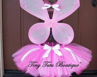 Hot Pink Glam Tutu/Hairbow Set- 3T, 4T, 5T