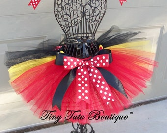 MICKEY MOUSE- Red,Black,Gold Polkadot baby/child Tutu with 2 hairbows:  Newborn-5T