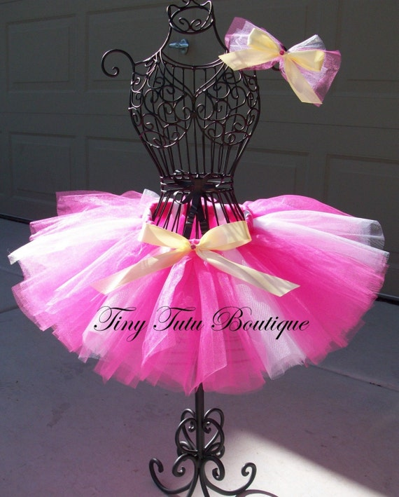 Sleeping Beauty- Pink, White, and Gold baby/child tutu with FREE hairbow- 2T/3T 4T/5T
