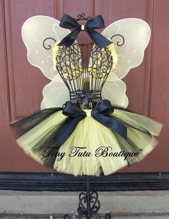Classy Little Bumblebee Tutu/Hairbow Set- 0-3mo, 3-6mo, 6-12mo, 12-24mo