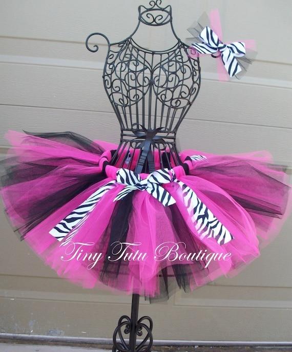 Wild Hot Pink Zebra- Hot Pink Black with zebra print child/baby tutu with hairbow:  Newborn-5T